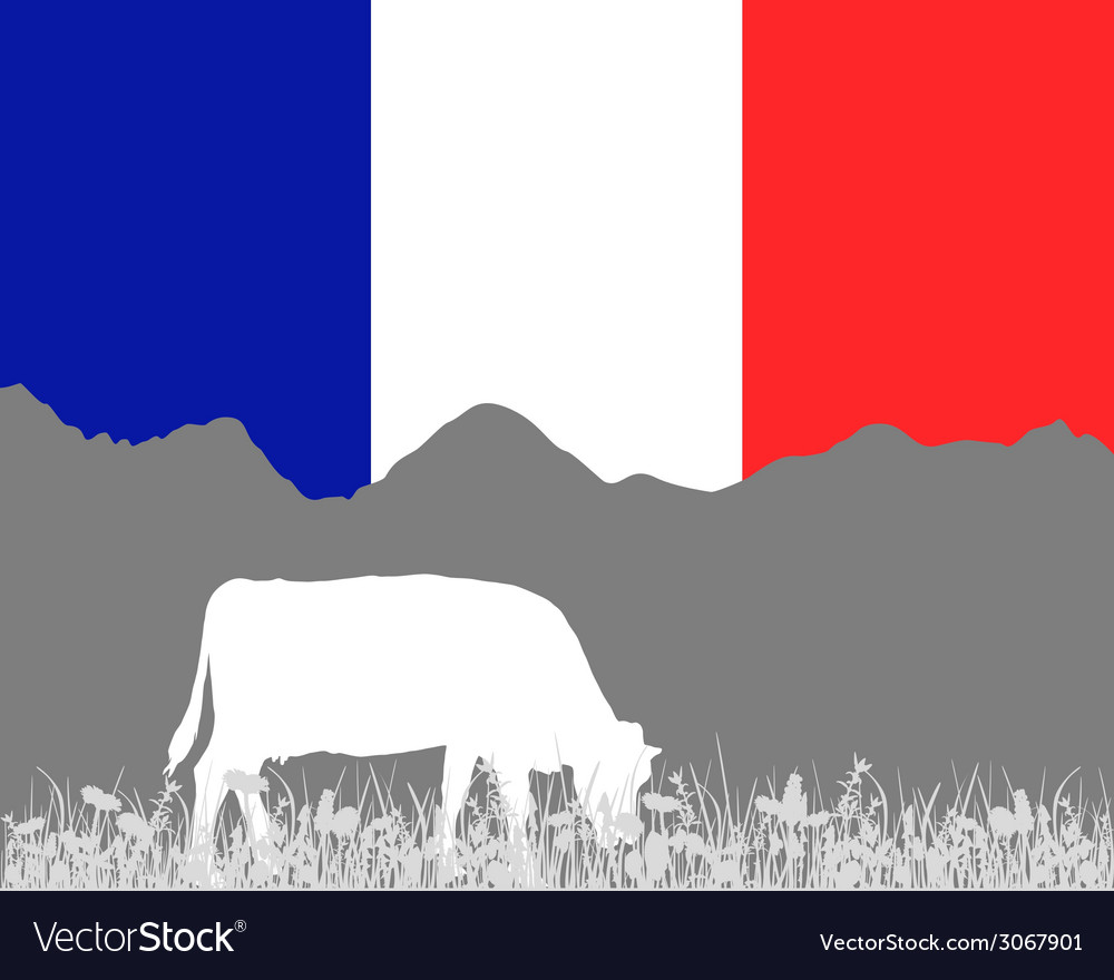 Cow alp and french flag vector | Price: 1 Credit (USD $1)