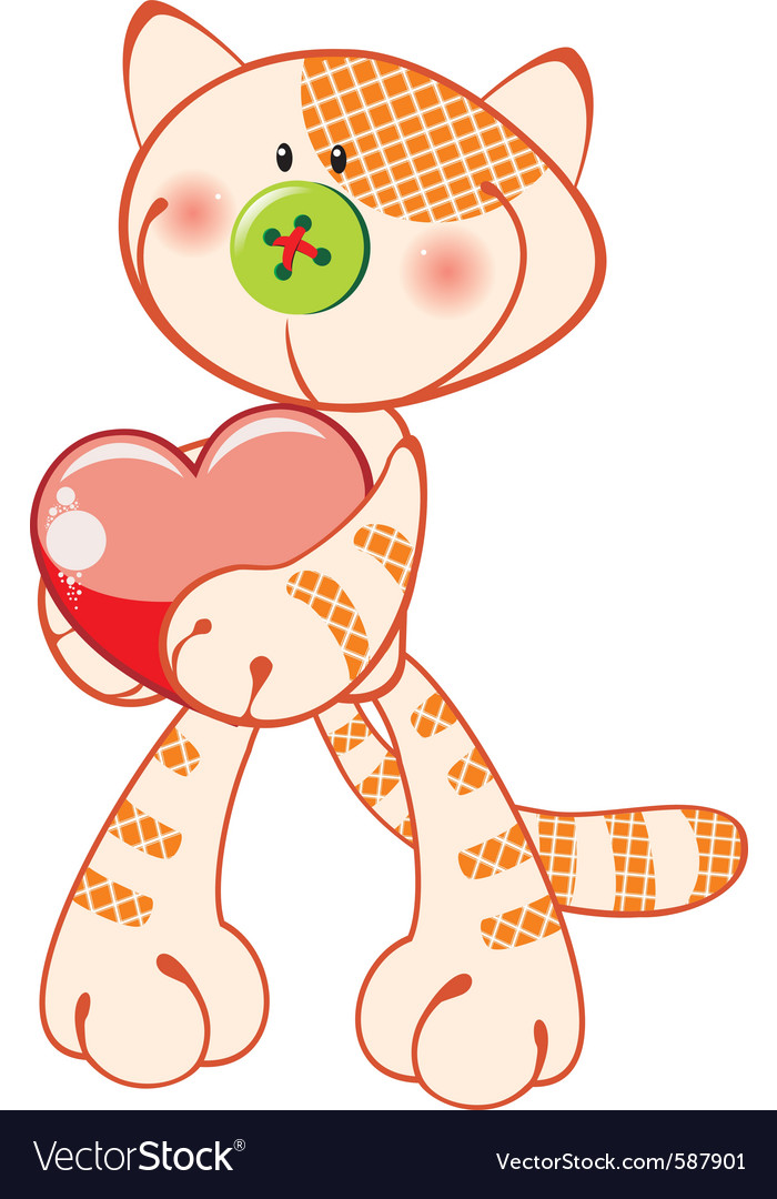 Cute kitten with heart vector | Price: 3 Credit (USD $3)