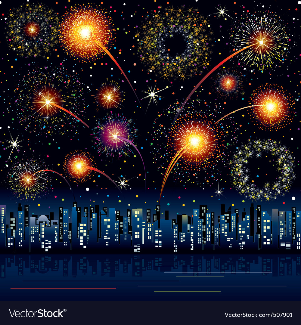 Fireworks in the night city vector | Price: 1 Credit (USD $1)