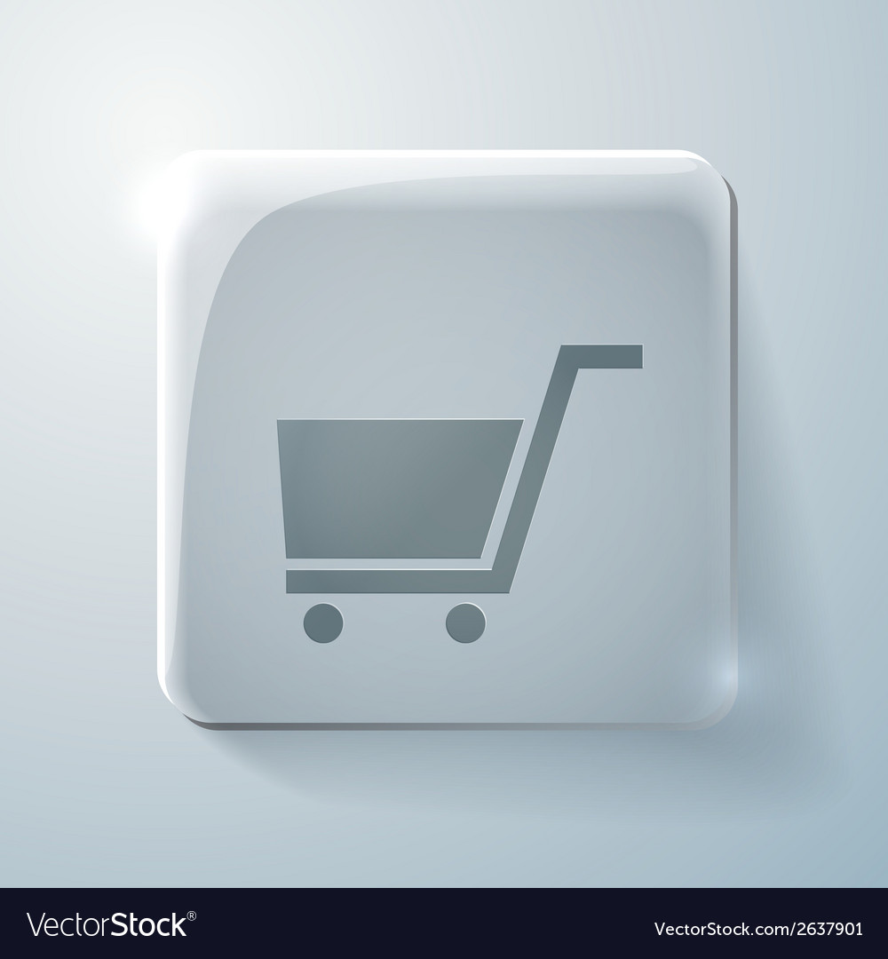 Glass icon with highlights cart online store vector | Price: 1 Credit (USD $1)