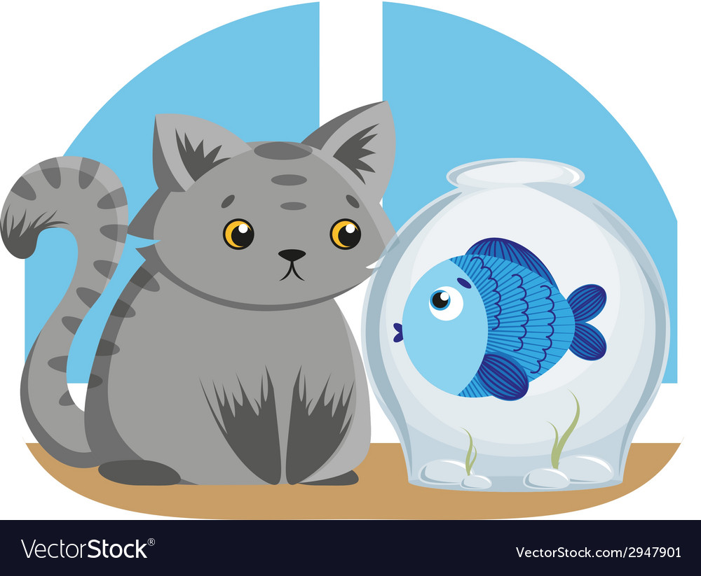 Gray cat and blue fish vector | Price: 1 Credit (USD $1)