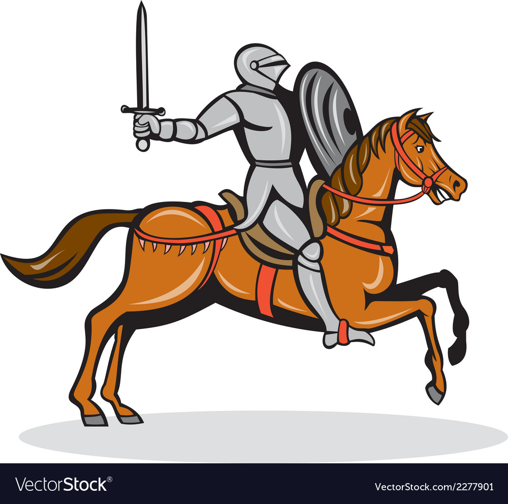 Knight riding horse cartoon vector | Price: 1 Credit (USD $1)