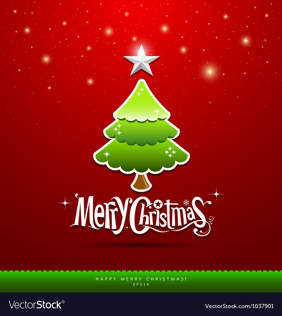 Merry christmas green tree vector | Price: 1 Credit (USD $1)