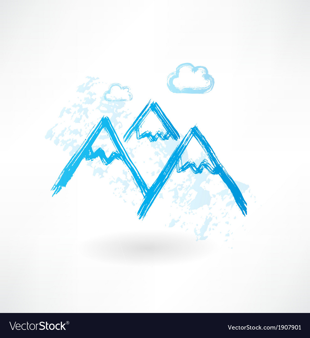 Mountains grunge icon vector | Price: 1 Credit (USD $1)