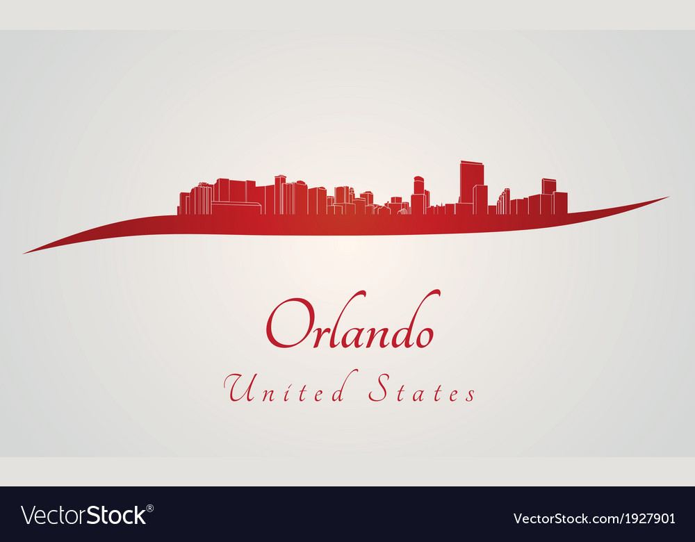 Orlando skyline in red vector | Price: 1 Credit (USD $1)