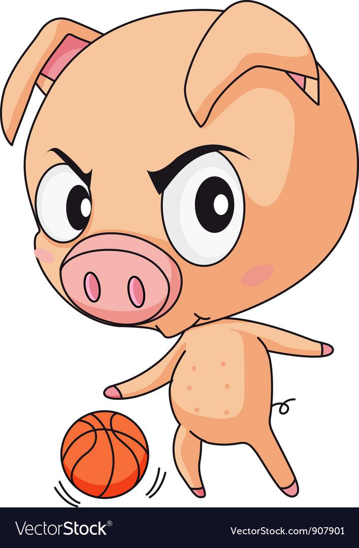 Pig basketball vector | Price: 3 Credit (USD $3)