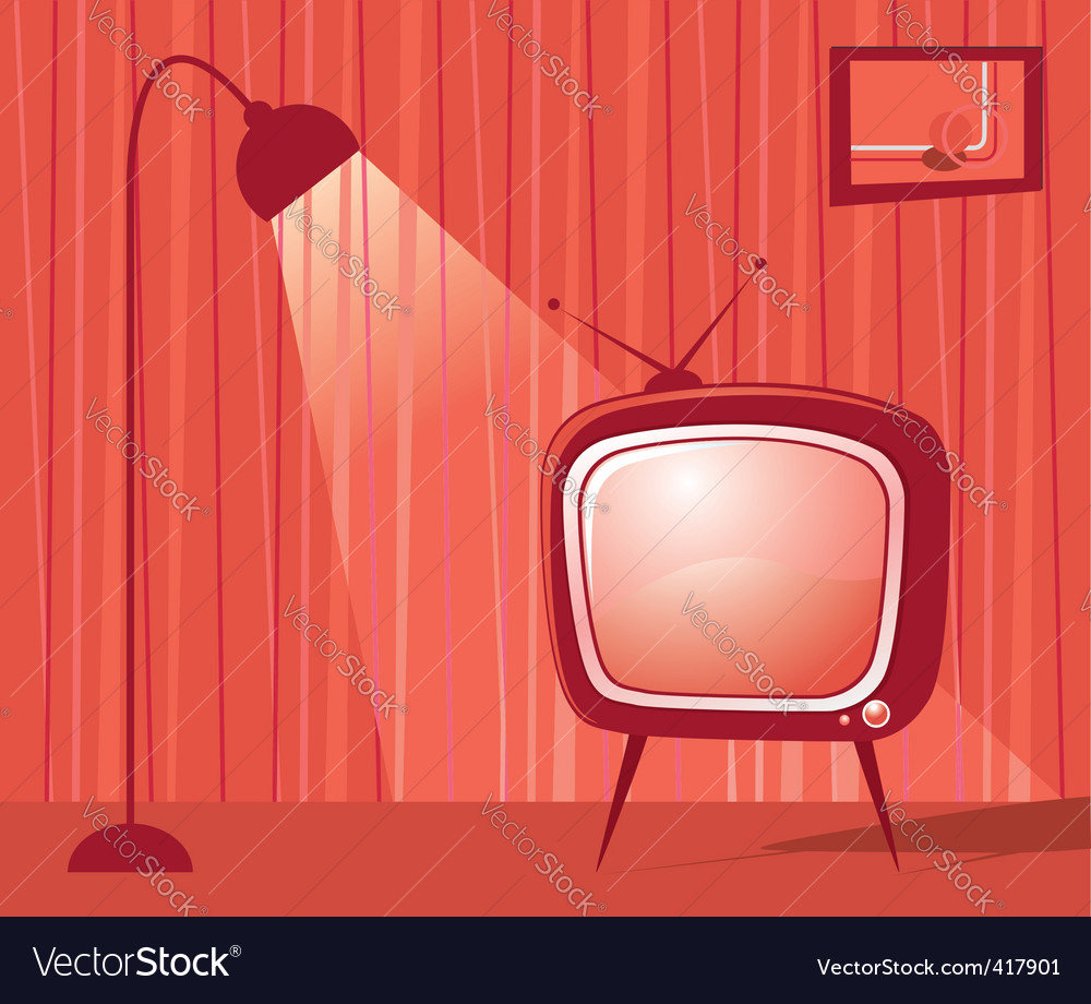 Retro tv room vector | Price: 1 Credit (USD $1)
