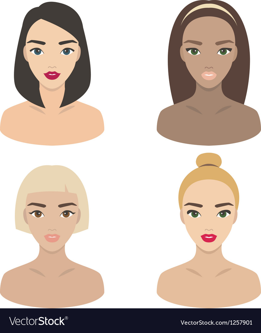 Set of girls icons vector | Price: 3 Credit (USD $3)