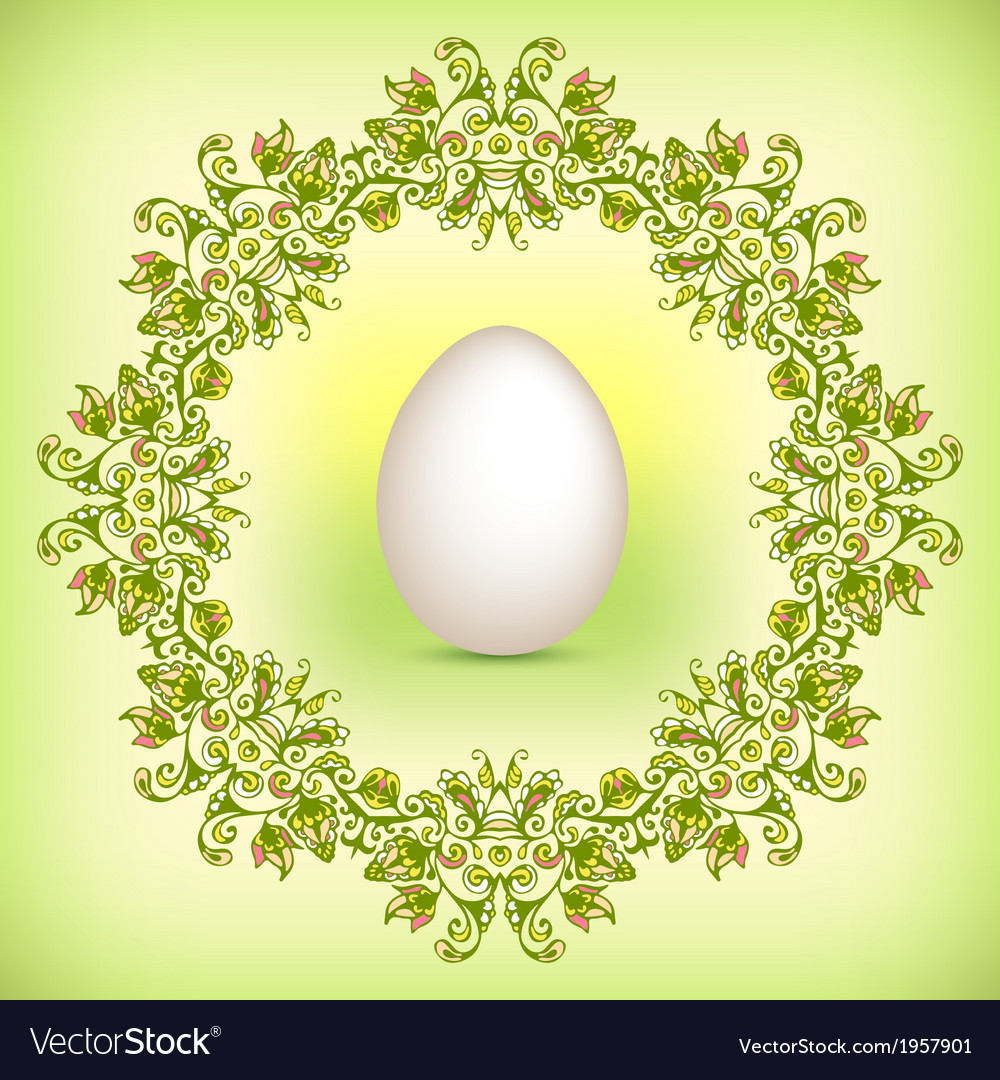 Spring green easter border vector | Price: 1 Credit (USD $1)