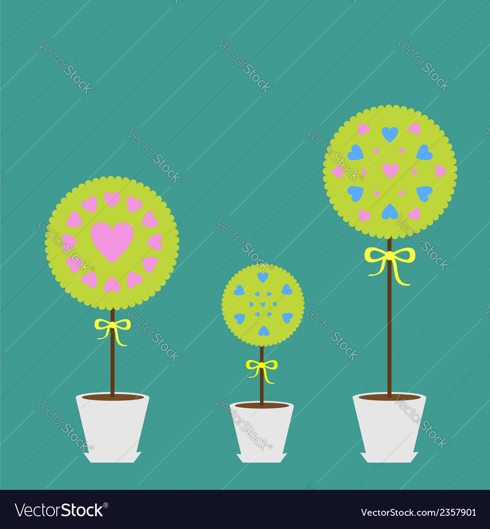 Tree set with heart flowers in the pot flat design vector   Price: 1 Credit (USD $1)