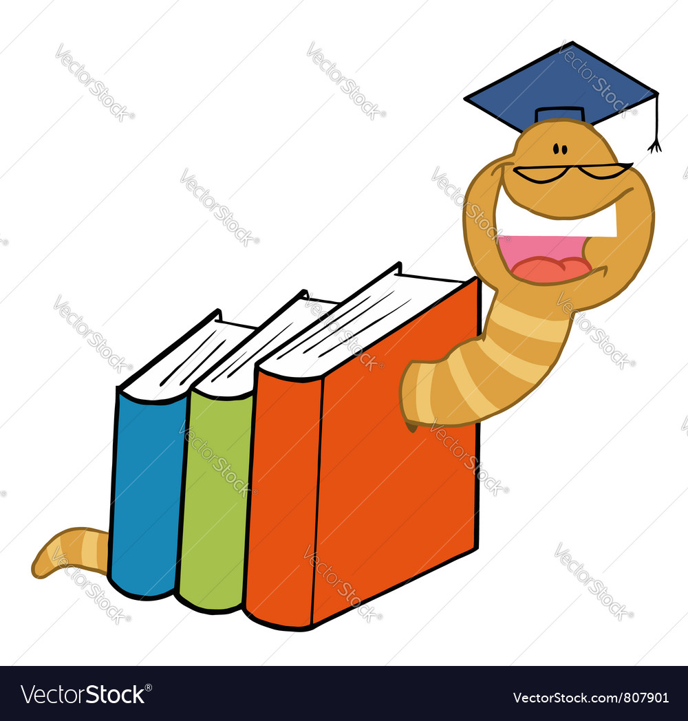 Worm crawling through books vector | Price: 1 Credit (USD $1)