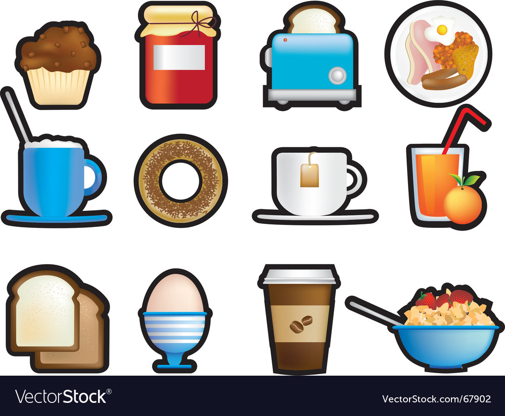 Breakfast icons vector | Price: 1 Credit (USD $1)