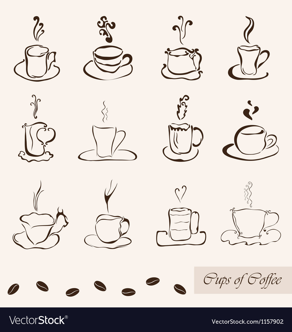 Coffee cups set vector   Price: 1 Credit (USD $1)