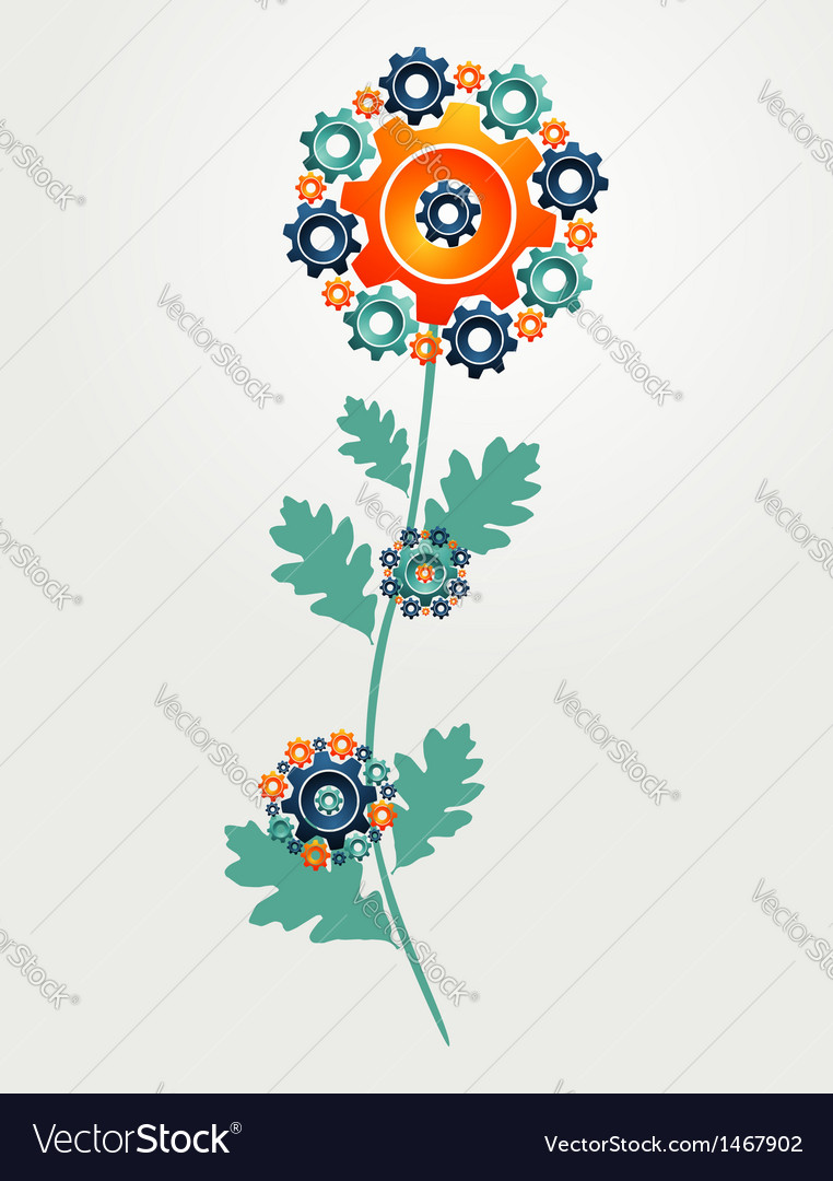 Gear machine flower concept vector | Price: 1 Credit (USD $1)