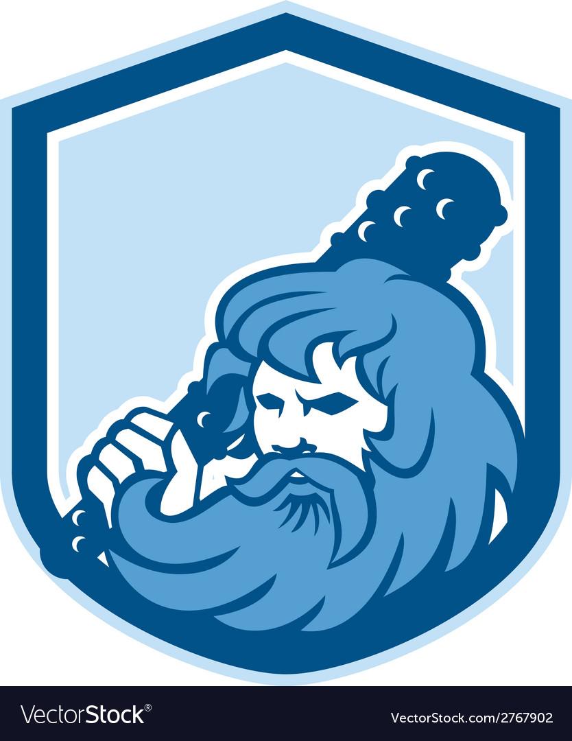 Hercules wielding club shield retro vector | Price: 1 Credit (USD $1)