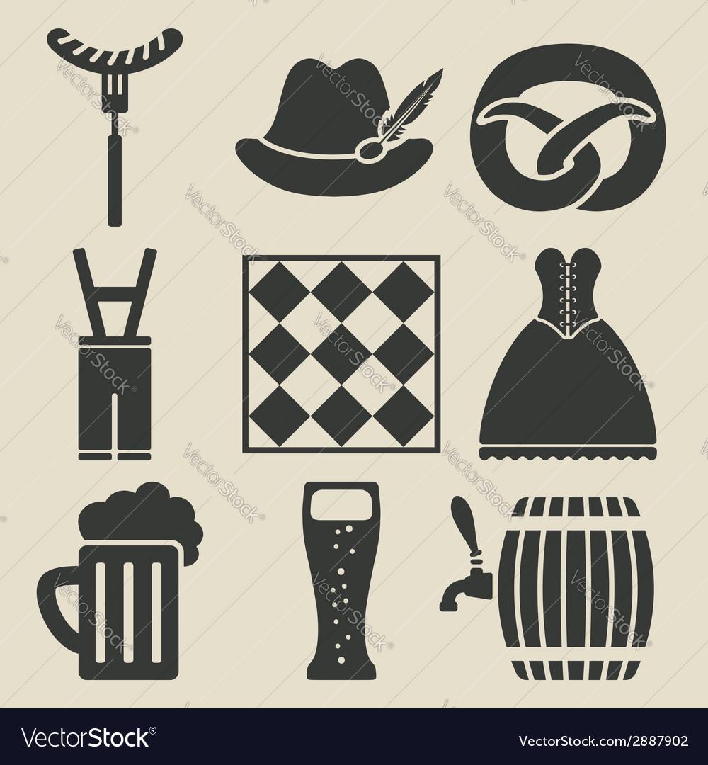 Oktoberfest beer festival icons set vector | Price: 1 Credit (USD $1)