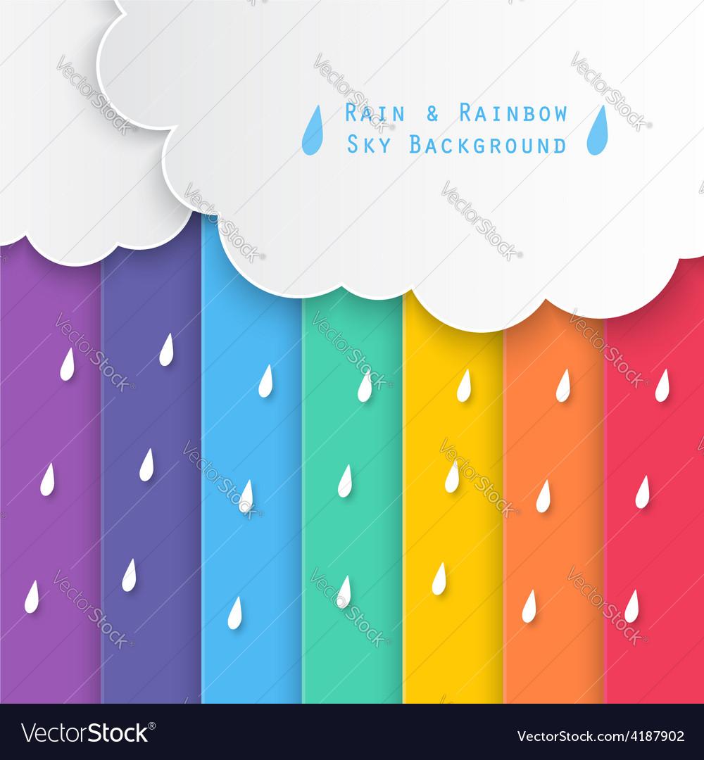 Rain and rainbow sky background vector | Price: 1 Credit (USD $1)