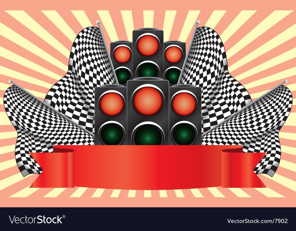 Red traffic lights on finish vector | Price: 3 Credit (USD $3)