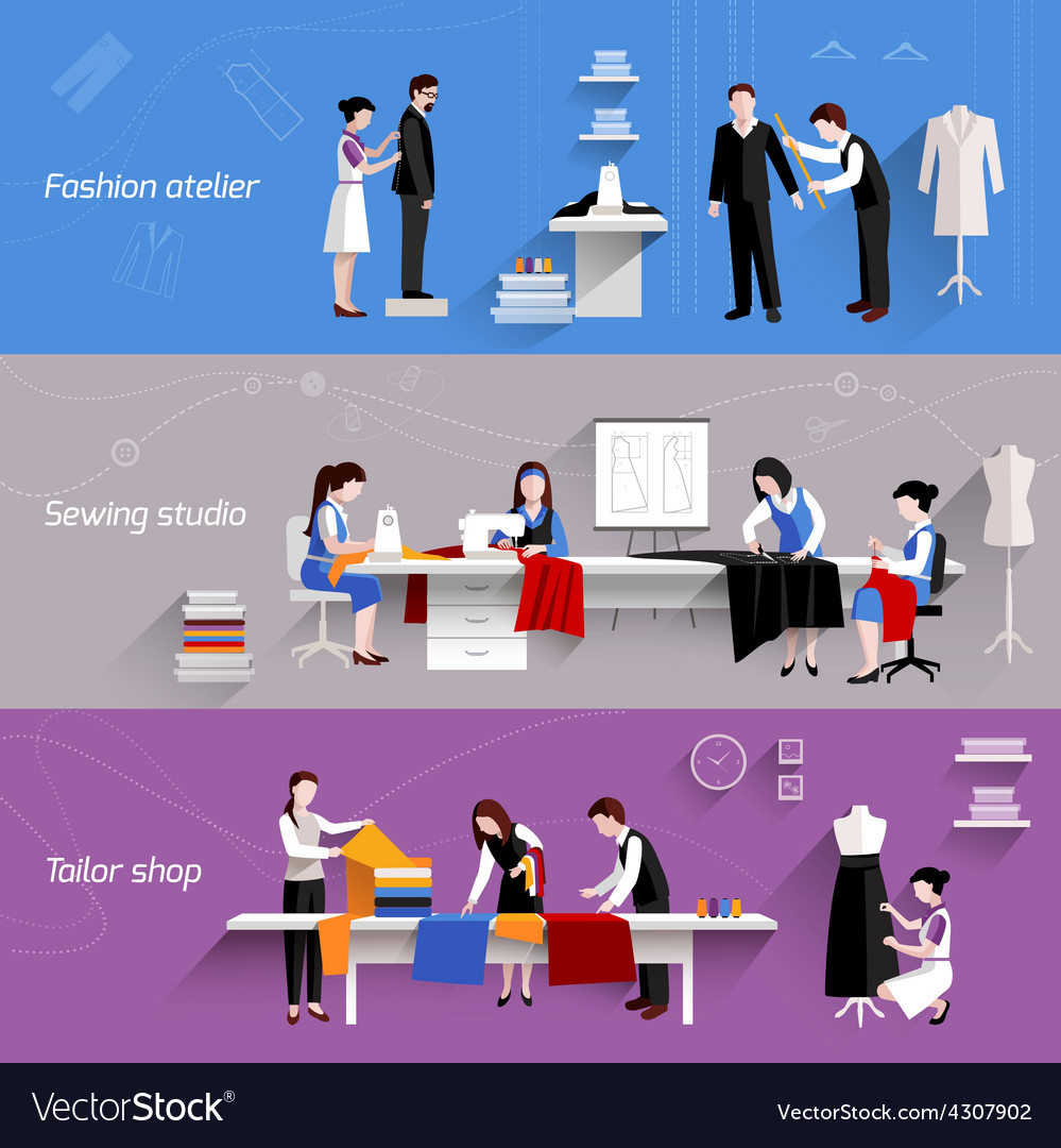 Sewing horizontal banners vector   Price: 1 Credit (USD $1)
