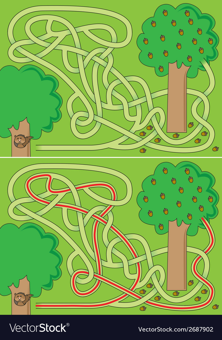 Squirrel maze vector | Price: 1 Credit (USD $1)