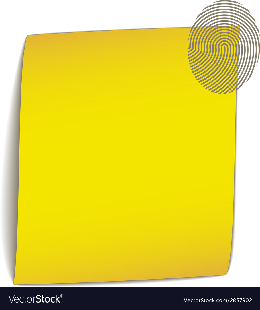 Yellow bend paper with fingerprint vector | Price: 1 Credit (USD $1)