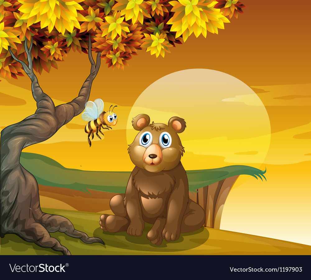 A brown bear and a bee near the cliff vector | Price: 1 Credit (USD $1)