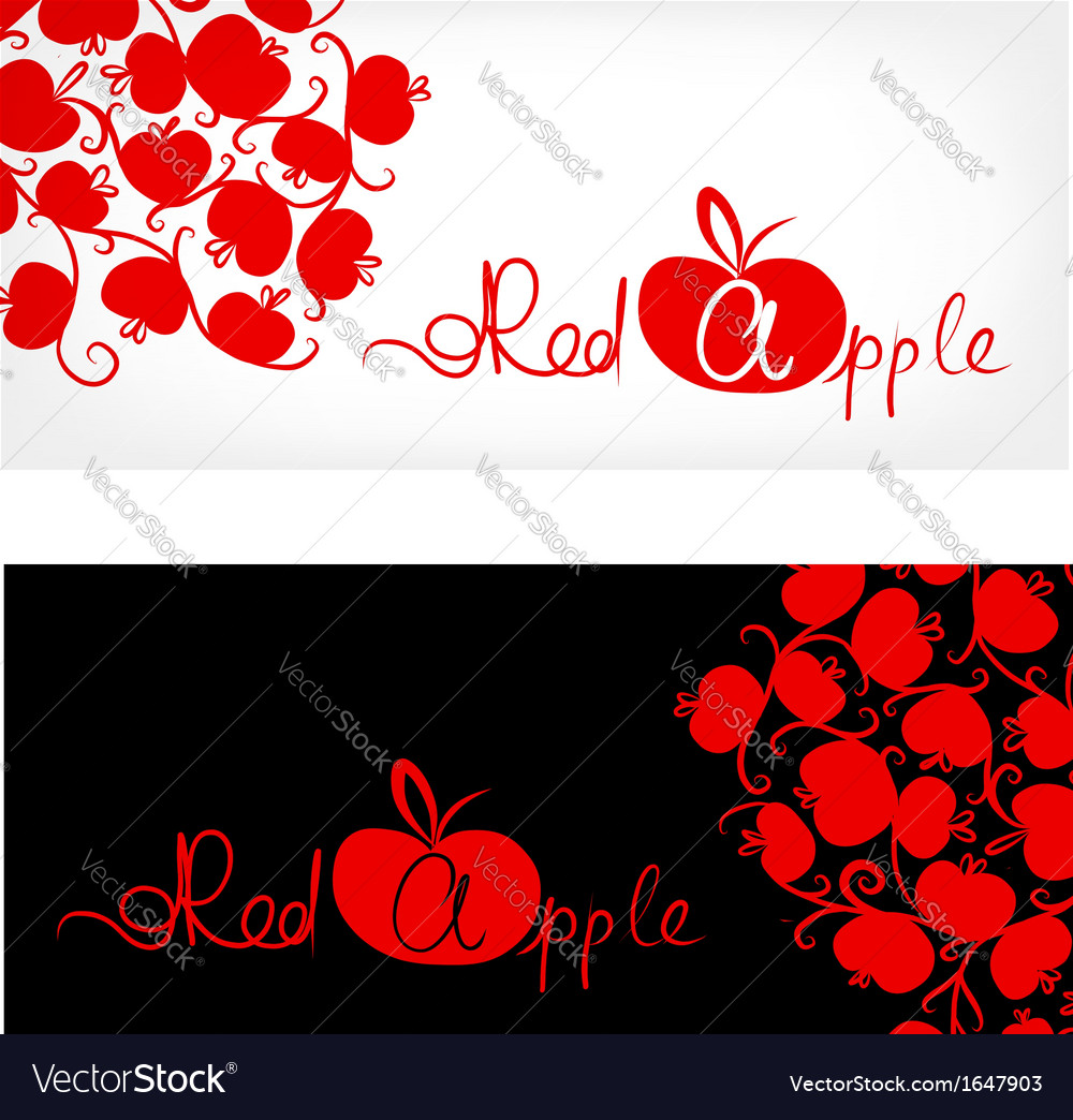Black and white banner with red apple design vector | Price: 1 Credit (USD $1)