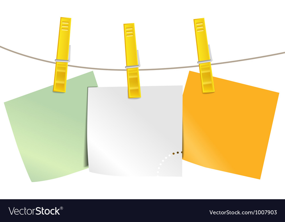 Color blank paper pieces on rope vector | Price: 1 Credit (USD $1)