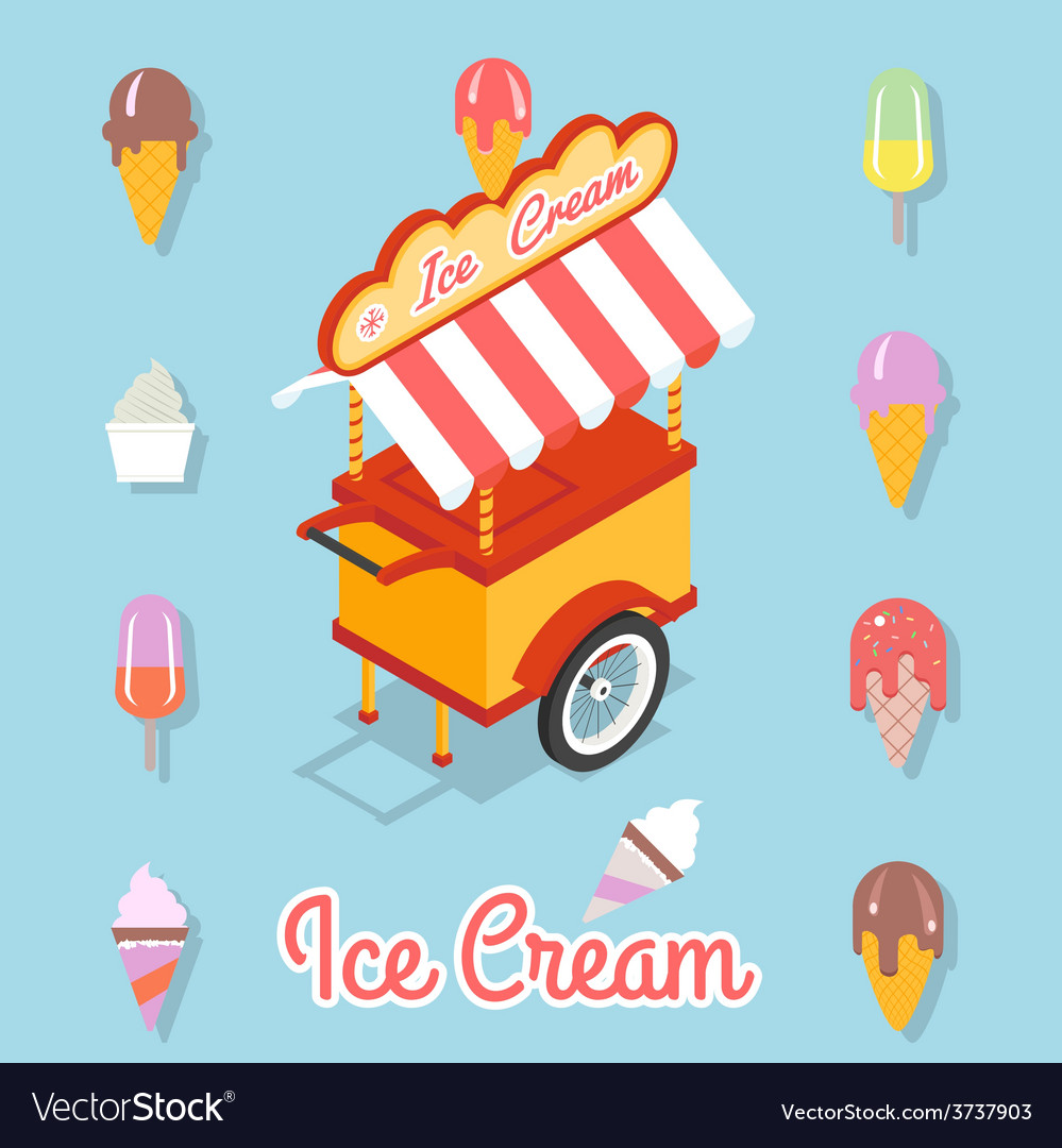 Flat ice cream vector | Price: 1 Credit (USD $1)
