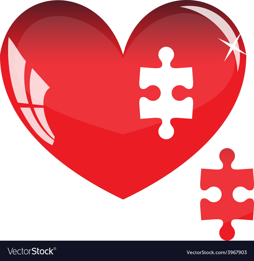 Jigsaw puzzle in the shape of a red heart vector | Price: 1 Credit (USD $1)