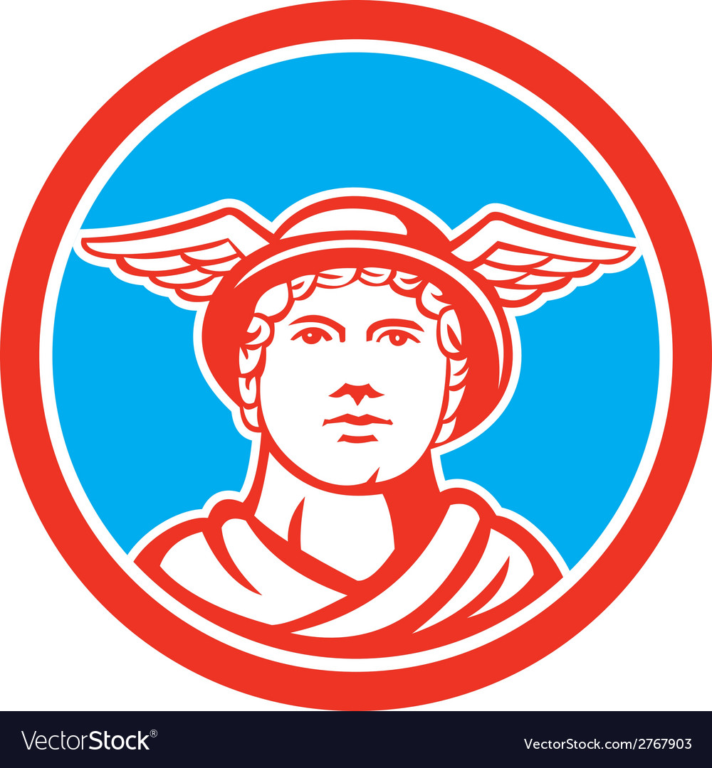 Mercury head winged hat circle retro vector | Price: 1 Credit (USD $1)