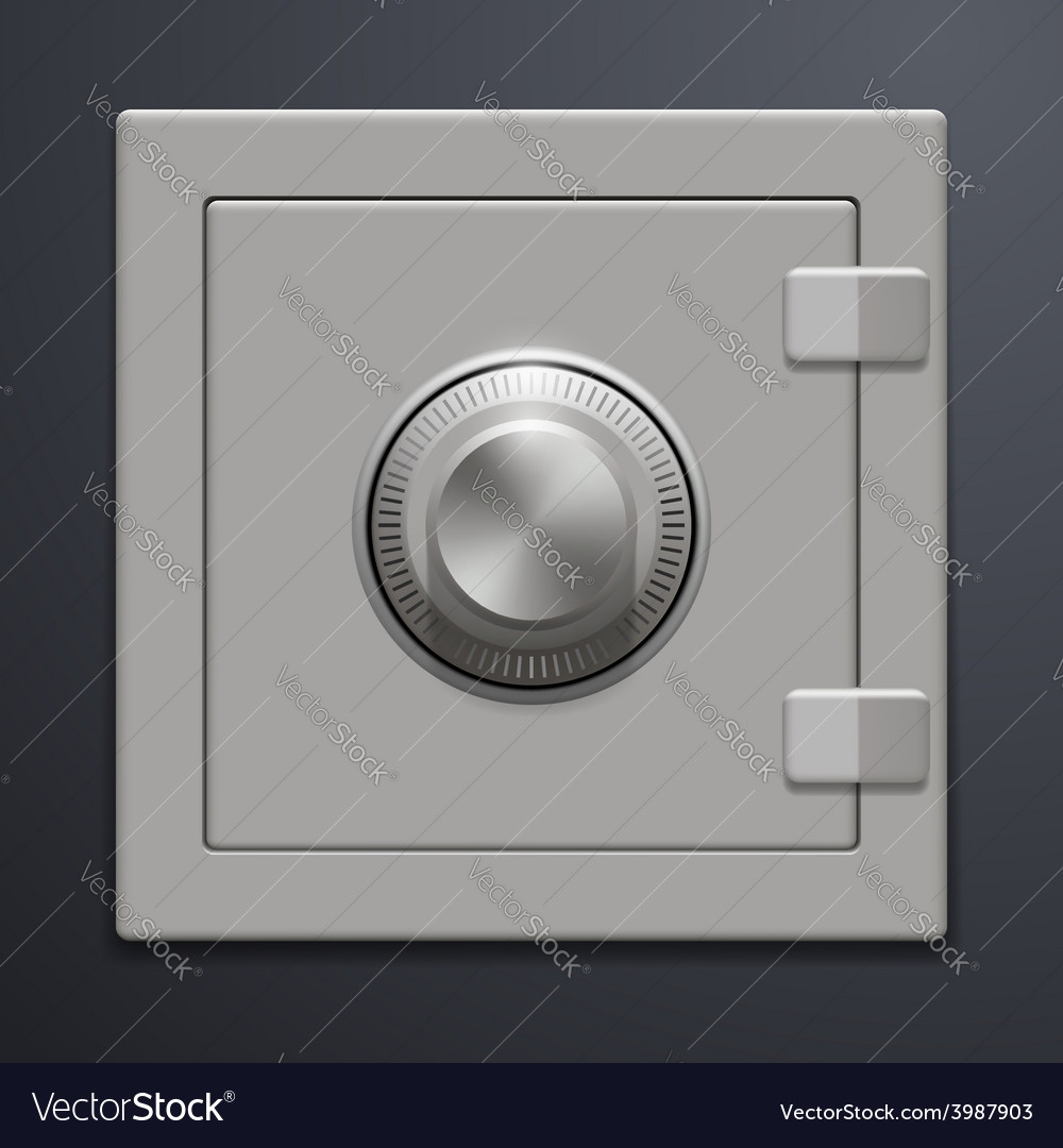 Metal safe on a gray background vector | Price: 1 Credit (USD $1)
