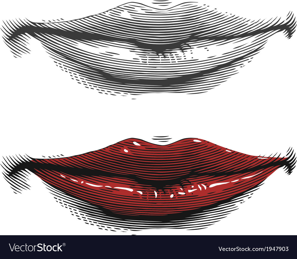 Mouth with red lips in engraving style vector | Price: 1 Credit (USD $1)