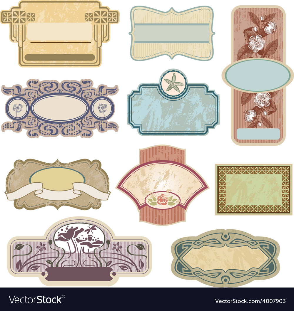 Ornate vintage labels vector | Price: 3 Credit (USD $3)