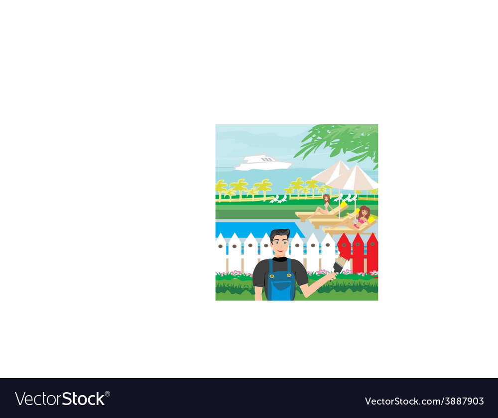 Painter painting a fence and flirting with vector | Price: 1 Credit (USD $1)