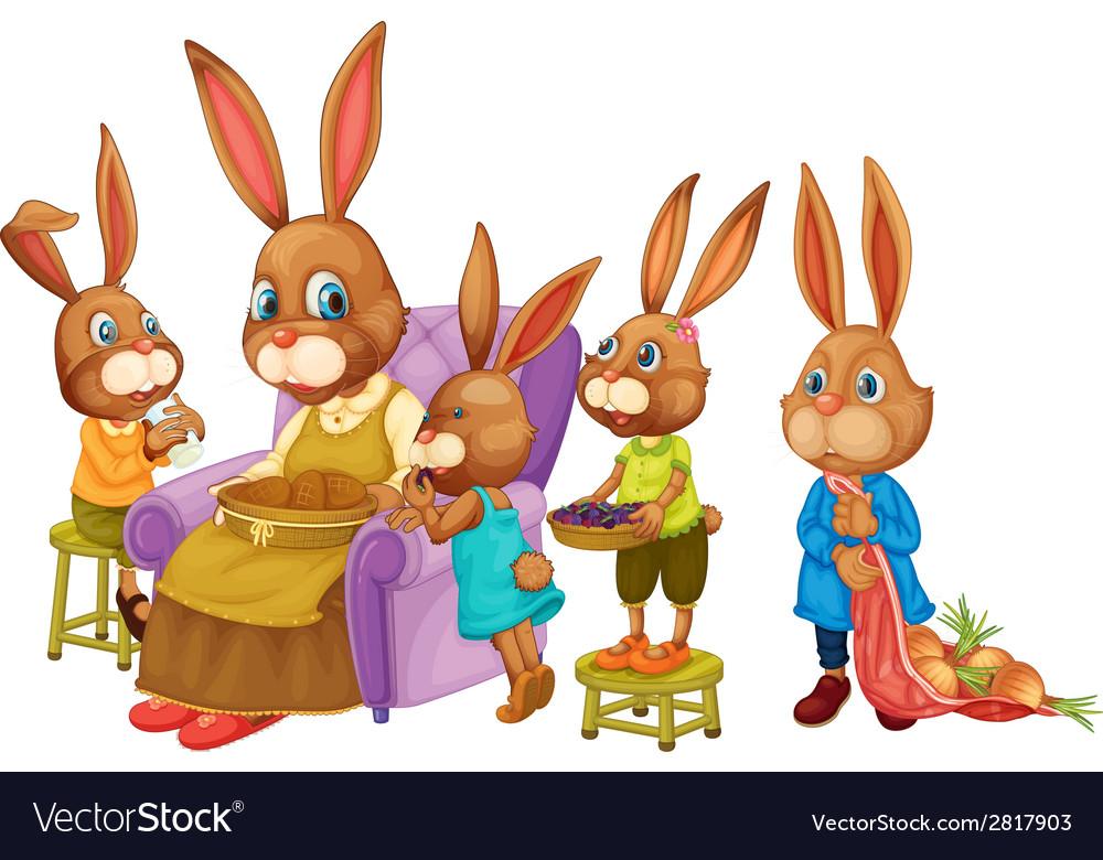 Rabbit family vector | Price: 3 Credit (USD $3)