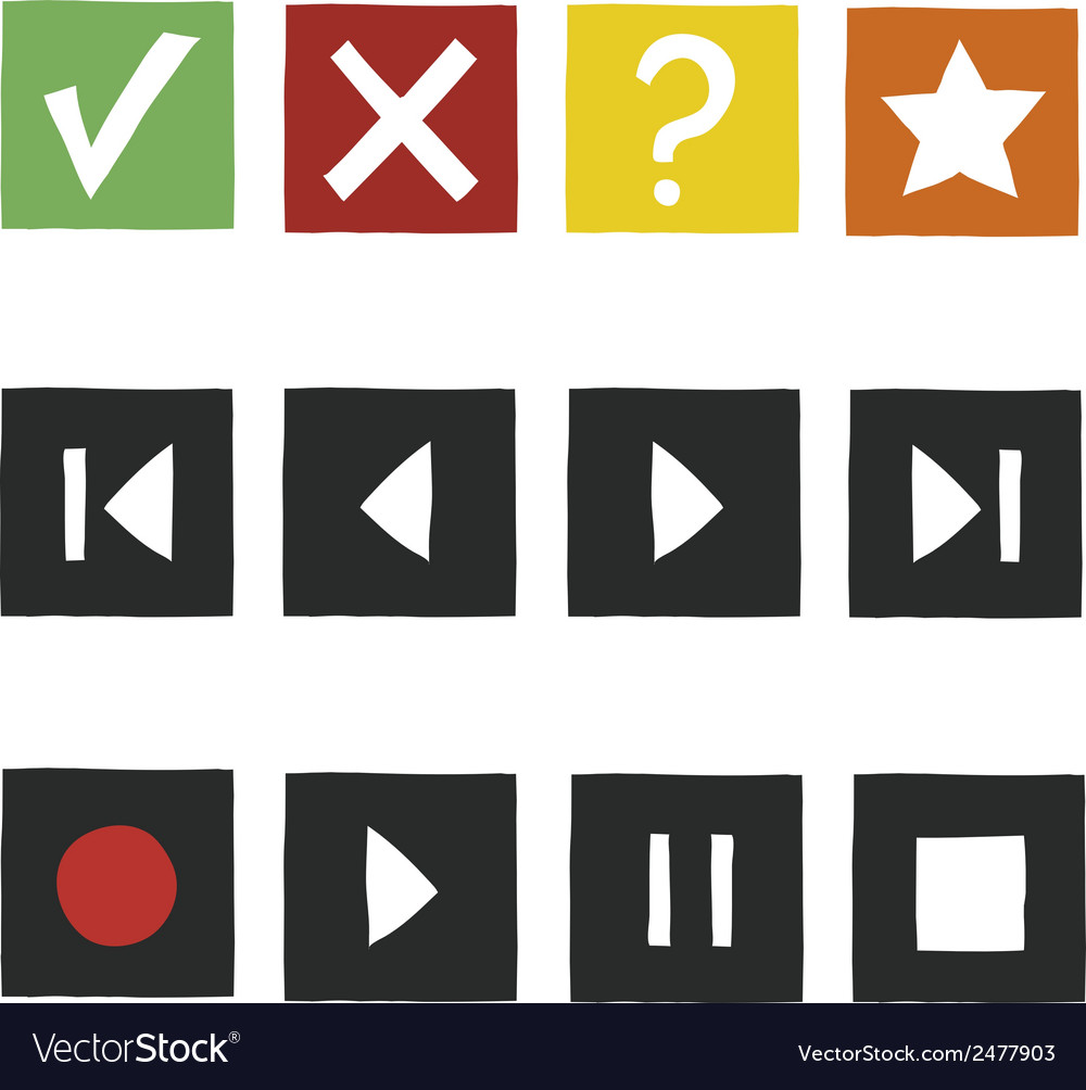 Simple hand draw game icons set vector | Price: 1 Credit (USD $1)