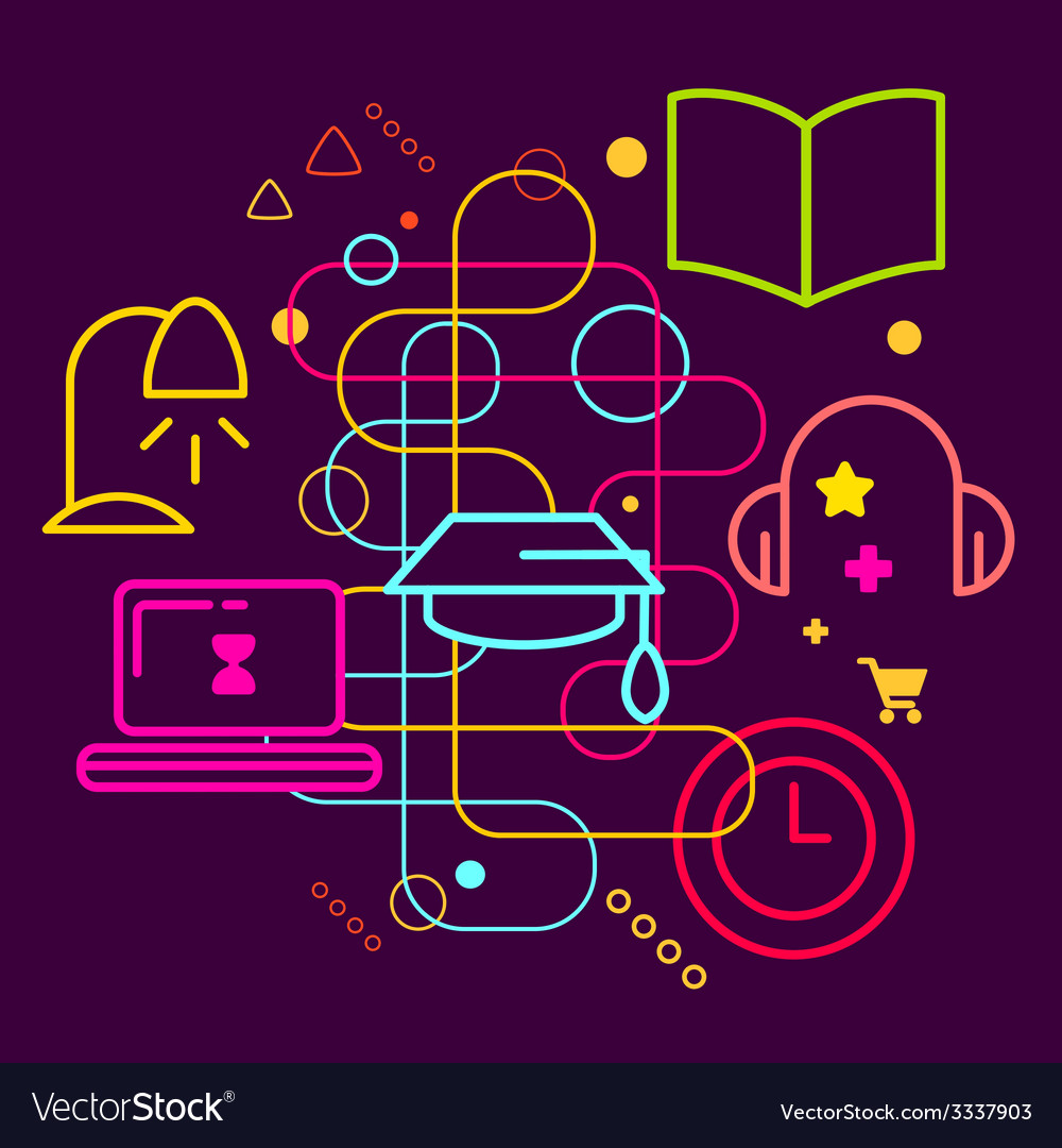 Symbols of education on abstract colorful dark vector | Price: 3 Credit (USD $3)