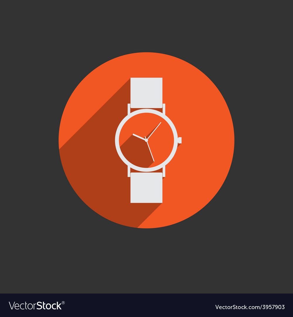 Trendy wristwatch icon with long shadow vector | Price: 1 Credit (USD $1)