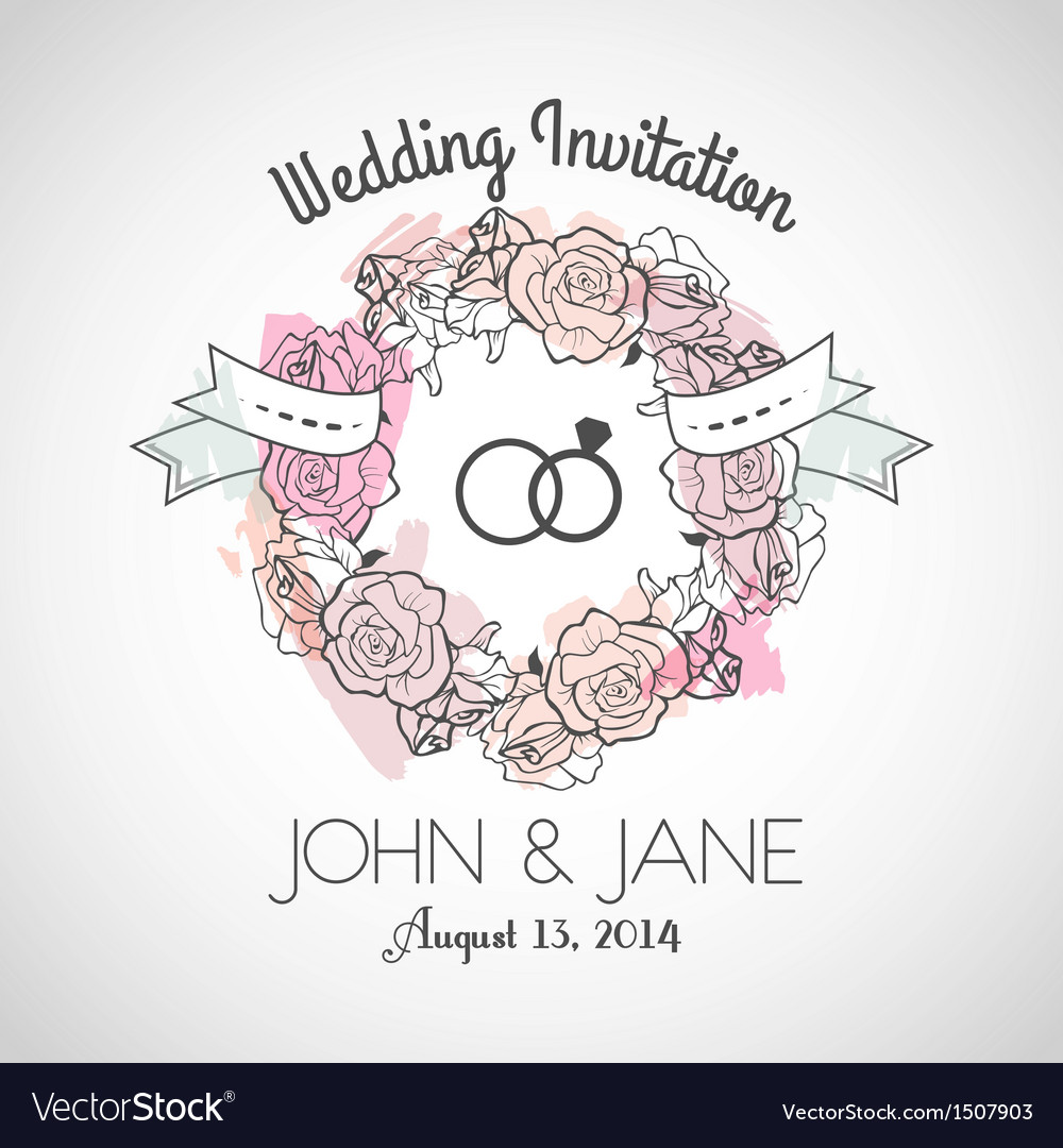 Wedding invitation rose vector | Price: 1 Credit (USD $1)