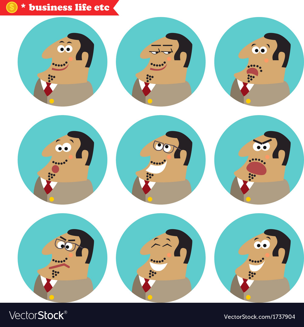 Boss facial emotions vector | Price: 1 Credit (USD $1)