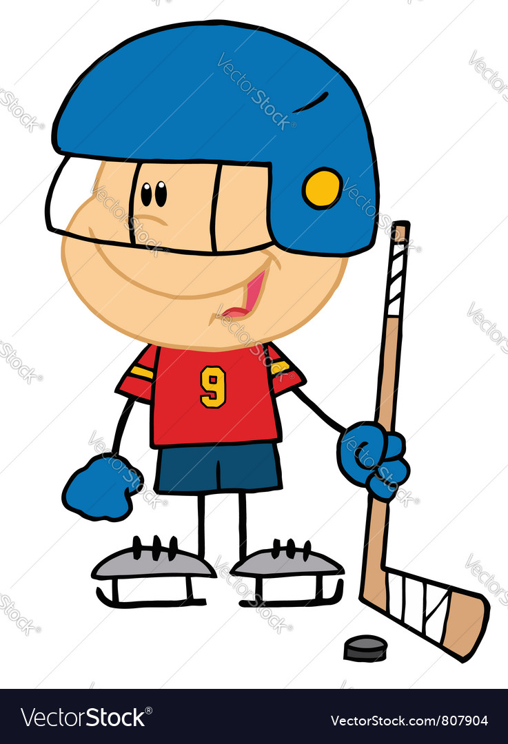 Boy playing hockey goalie vector | Price: 1 Credit (USD $1)