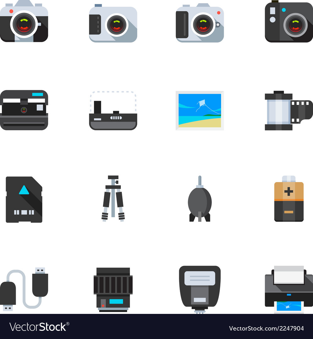 Camera and camera accessories icons vector | Price: 1 Credit (USD $1)