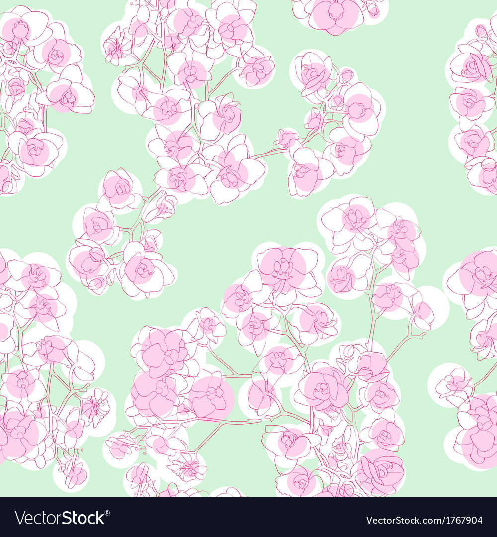 Colored orchids pattern vector | Price: 1 Credit (USD $1)