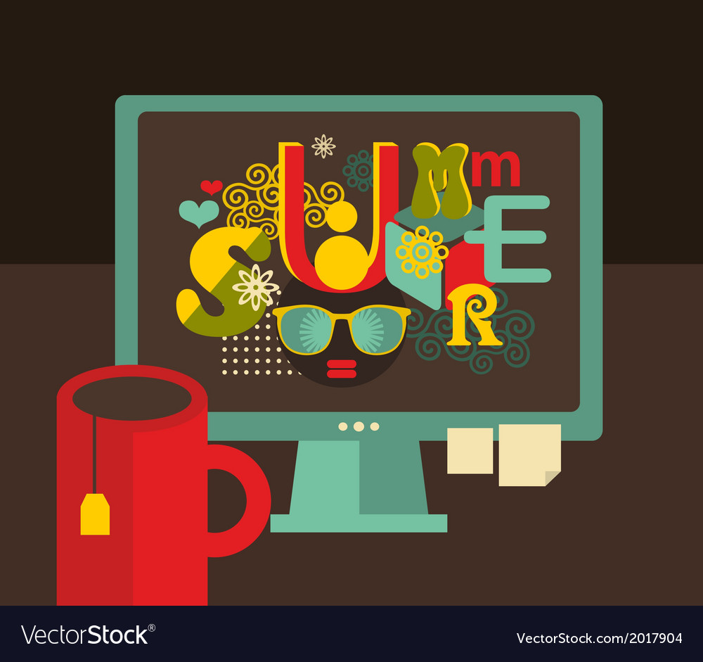 Computer screen with summer label vector | Price: 1 Credit (USD $1)