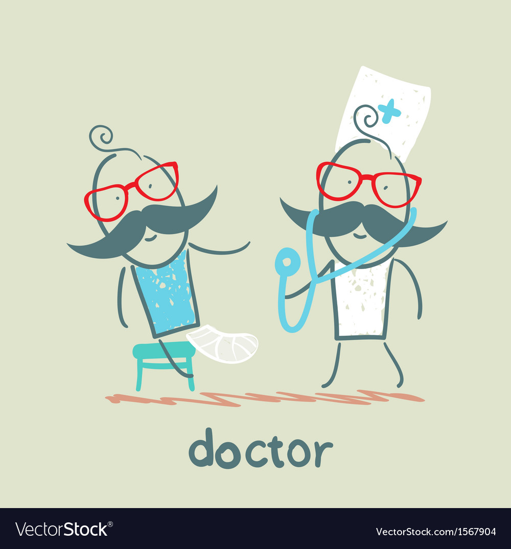 Doctor with a sick broken leg vector | Price: 1 Credit (USD $1)