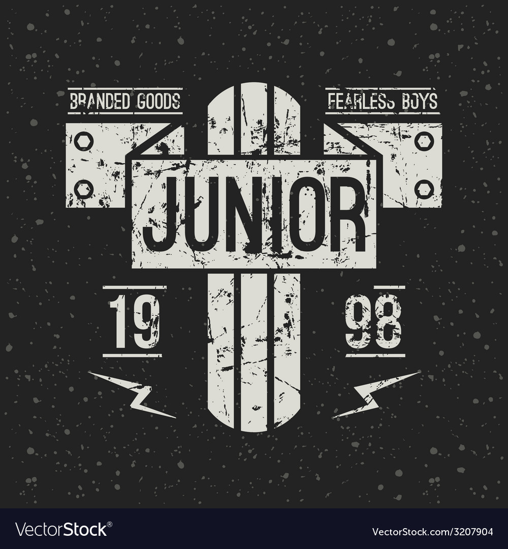 Emblem racing junior in retro style vector | Price: 1 Credit (USD $1)