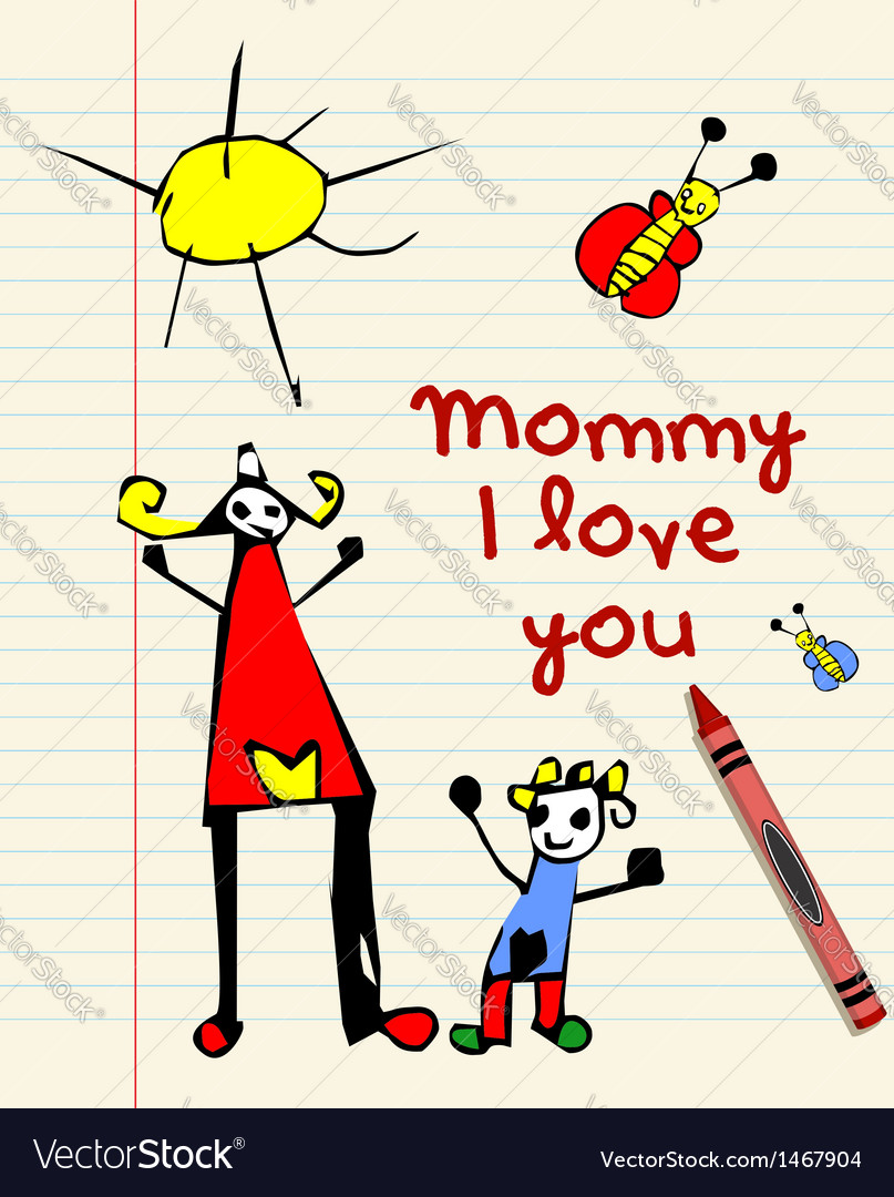 Happy mothers day child drawing vector | Price: 1 Credit (USD $1)
