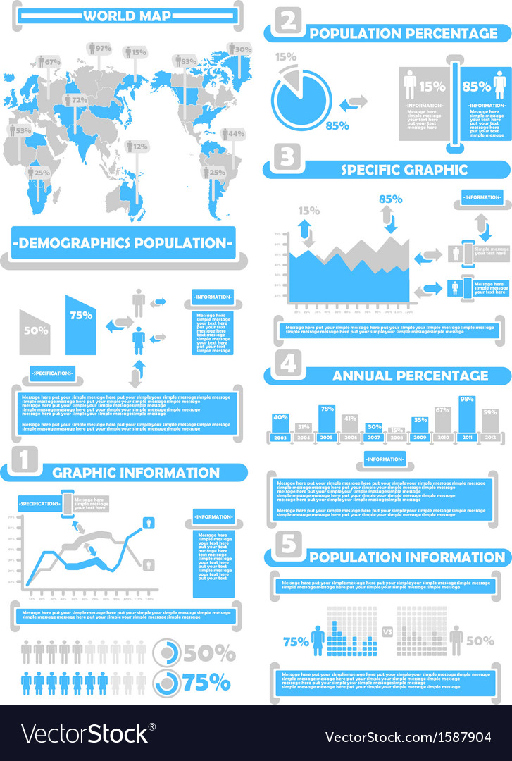 Infographic demographics world percentage blue vector | Price: 1 Credit (USD $1)