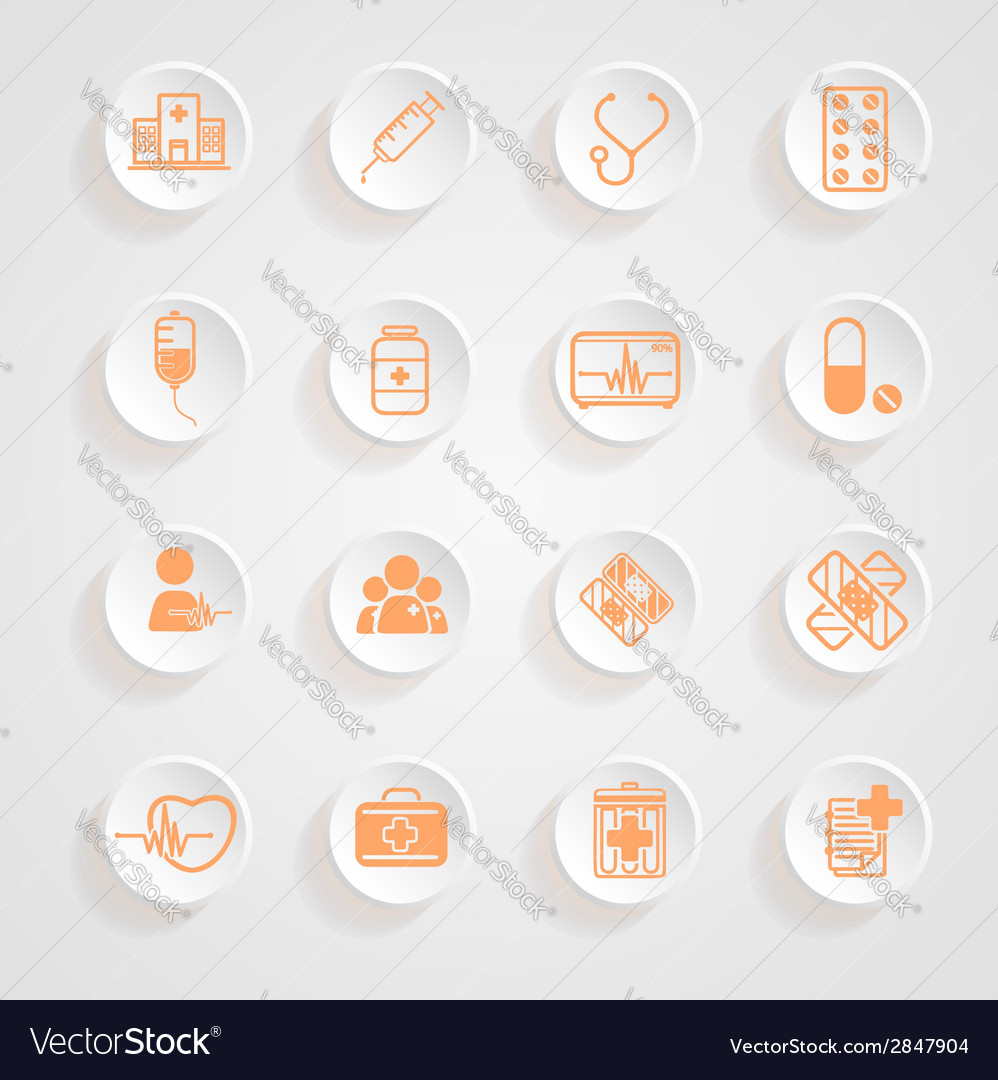 Medical icons button shadows set vector | Price: 1 Credit (USD $1)